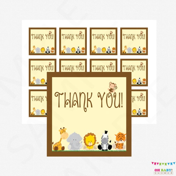 Safari Baby Shower Favor Tags Thank You Favor Tags Baby
