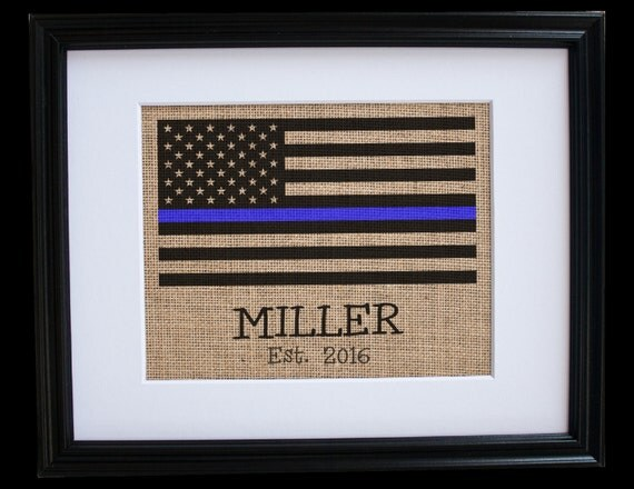 Thin Blue Line Personalized Artwork Gift Anniversary Men 31st