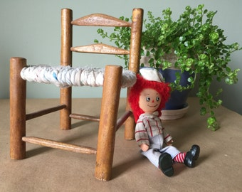 Wooden Doll Chair. Miniature Chair with Cloth Seat. Doll Furniture