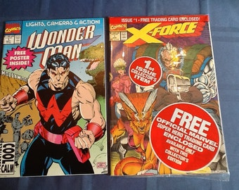 X-Force 1st Issue and Wonderman comic, both by Marvel