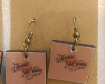 Handmade Découpage Neil Young Earrings