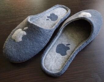 Felted Wool Slippers Apple Mans Womens Slippers Handmade