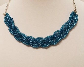 Blue Beaded Braided Statement Bib Necklace