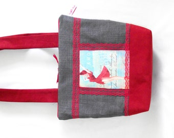 Handbag Tote spirit 'rockabilly' pin'up, red and grey