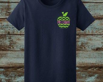 Teacher Shirt, Chevron Apple, Love Teaching Shirt, Personalized Teacher shirt, teacher gift