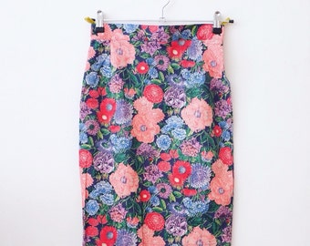 Vintage floral hippie pencil skirt S/Xs