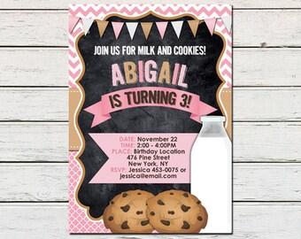 Cookies and Milk Girl Printable Birthday Invitation - DIY - PDF & JPG Files only