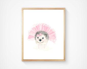 Watercolor hedgehog 2 Print - Nursery Art - Pink and Gray - Nursery Decor - Kids Wall Art, hedgehog painting, pastel color nursery