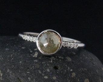 White Gold Grey Diamond Ring - Natural Rose Cut Diamond