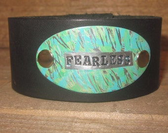 Hand stamped and painted leather cuff