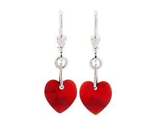 SWAROVSKI Mini Heart Sterling Silver Earrings in Siam Red