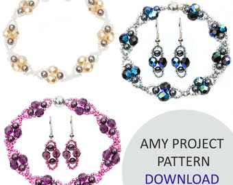 Jewellery Pattern Download / Kleshna Amy Bracelet Pearl & Crystal Project Download by Kleshna