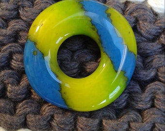 Blue, Green and Yellow Striped Ring Bead
