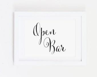 Wedding Drinks Sign, Wedding Open Bar Sign, Wedding Bar and Drinks Sign, Open Bar Wedding Sign, Fun Open Bar, Wedding Decor, WCP04