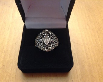 Sterling Silver Filigree Ring with Clear Stone