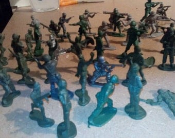 Fifty Five Vintage Plastic Toy Soldiers