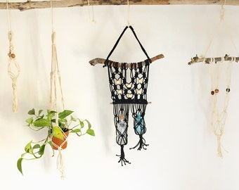 Black Macrame Bottle Hanger