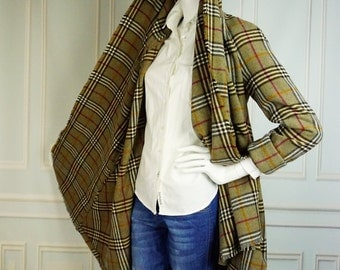 Size M - L, Lightweight coat, Wool coat, Coat, Oversized coat, Checkered coat