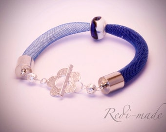 Bracelet - Stardust mesh with seed beads and a charm bead (#259513)