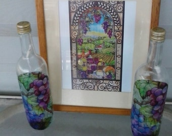 Favorite Grapes, lighted bottles, and picture