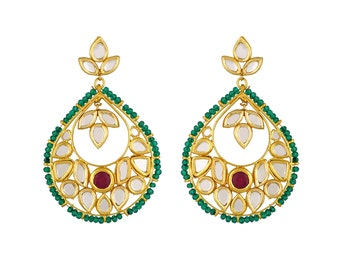Alyza Pearls kundan polki stones earings with some green beeds touch