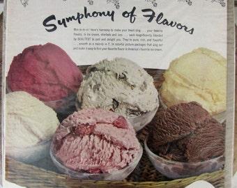 Sealtest ice cream ad, 1951 Sealtest Ice Cream Symphony of Flavors Fun Iconic ad, Home decor ice cream ad