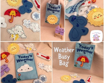 Handmade Childrens Weather Busy Bag - With Eight Changeable Weathers