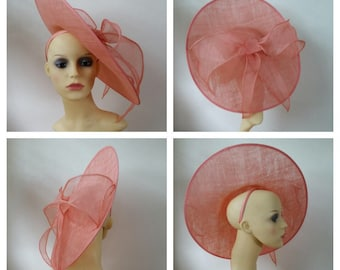 Coral saucer hat with large bow