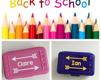 Personalized Pencil Box with Arrows and Name -- BACK TO SCHOOL