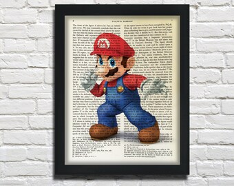 Mario, printed on Vintage Paper - dictionary art print, book prints