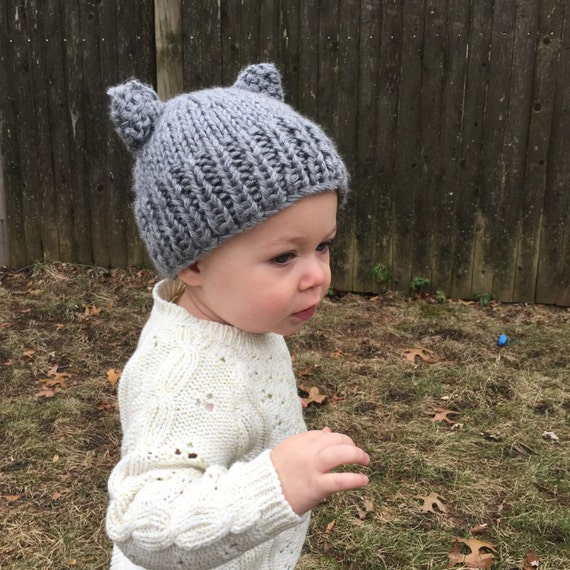 Knit Bear Ears Hat for Toddler or Baby Gray Knit Baby Hat