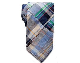 Boden - Madras Blue Plaid Boy Necktie - Pretied or Traditional
