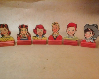 "6 game pieces , 1950s Board Game, Go to the Head of the Class, ""WonderBread"" Americana"
