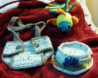 Fisherman's hat and Diaper cover set