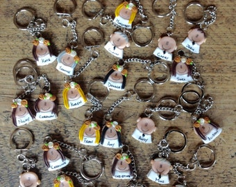Wedding favours keyring personalised handmade clay made to order
