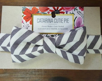 Baby/Toddler grey and white Bowtie