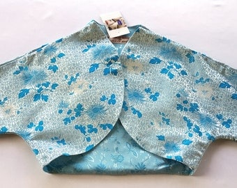 Blue and White Chinese Satin Bolero Jacket