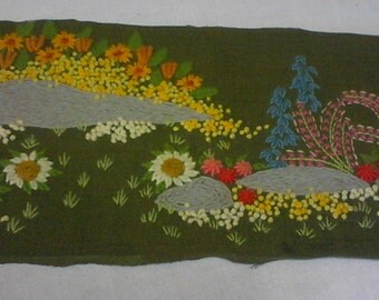 Finished Vintage 1977 Embroidery Picture