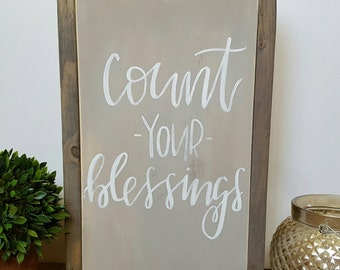 Framed signs, rustic signs, wooden signs, rustic decor, handmade signs, handpainted signs, handlettered signs, count your blessings