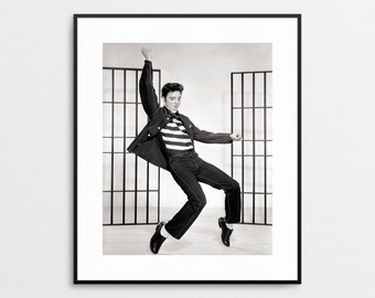 Elvis Presley Photo - Jailhouse Rock 1957 - Giclee Print -  Black and White - Rock n Roll Art - Musician - Rocker - Wall Art - Celebrity Art