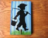 Key Hanger Leash Holder Boy Fishing Hand Crafted Recycled Wood Robe Hook Fishing Art Silhouette Wall Hanging Men Women Gift Decor Organizer