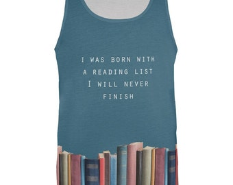 Reading List All Over Adult Tank Top