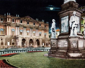 Vintage Postcard, Milan Postcard, 60s Postcard, Color Photo Postcard, Piazza e Teatro alla Scala Notturno, Milan, Italy, Unposted