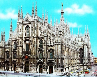 "Vintage 1960s Postcard Milano Italy Il Duomo Color Photo 4"" x 6"""