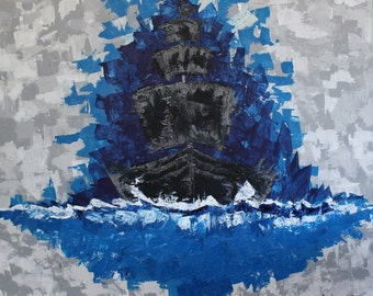 """Impressionism Acrylic Painting of Ship in the Night """"Onward"""" 36 H x 36 W"""