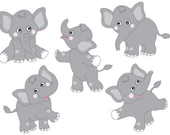 BUY 1 GET 2 FREE - Elephants Clipart - Digital Vector Safari, African, Animal, Elephant, Elephants Clip Art for Personal and Commercial Use