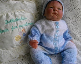 "Blue Patterned Hand Knitted All In One/Onesie/Playsuit for 20-21"" Reborn Doll"