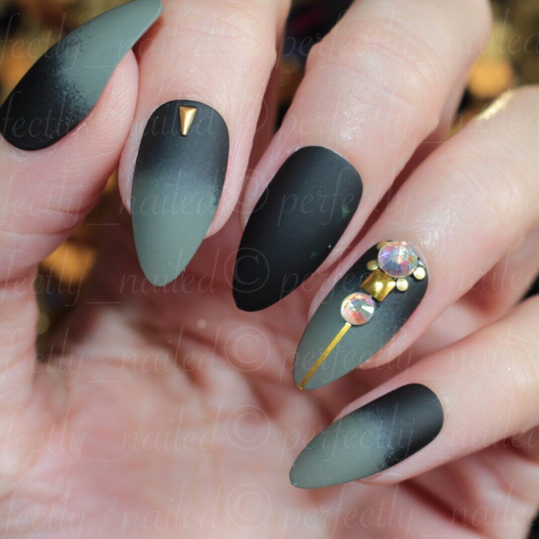 matte black and khaki with swarovski accents handpainted false nails fake nails press on. Black Bedroom Furniture Sets. Home Design Ideas