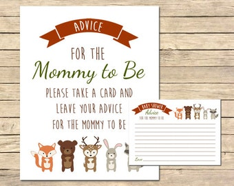 Woodland Animals Advice for the Mommy to Be Cards and Sign, Forest Animals, Woodland Animals Baby Shower, Printable, Instant Download, 003-W