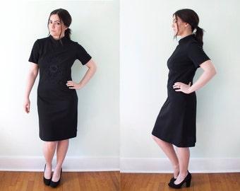 60s Black Mod Dress with flower embellishment - 1950s - LBD Little Black Dress Mock neck